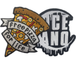 Custom embroidered patches - example of two custom shaped patches.