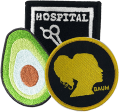 Custom band patches page - example image of several patches, including avocado patch.