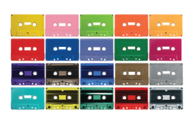 Image showing various colors of custom cassette tapes available